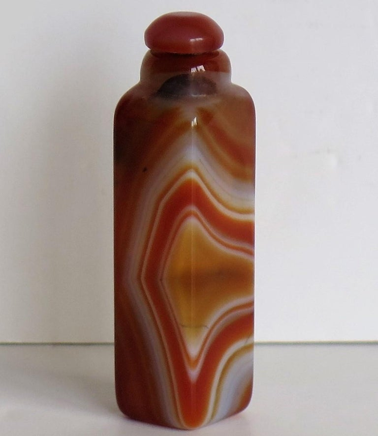 Chinese Natural Agate Stone Snuff Bottle Beautiful Striking Colors, circa 1930 For Sale 10