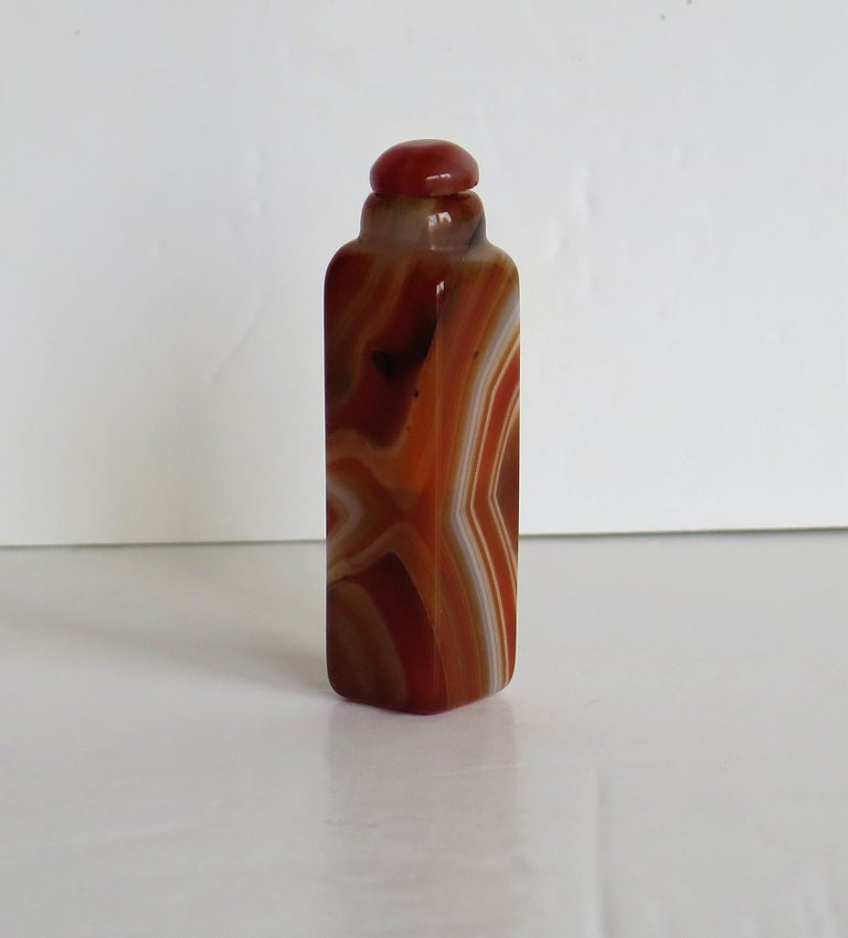 Hand-Carved Chinese Natural Agate Stone Snuff Bottle Beautiful Striking Colors, circa 1930 For Sale