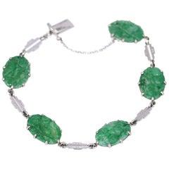 Chinese Natural Apple Carved Jade Platinum Bracelet, 1930
