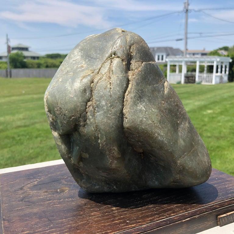 Chinese Natural Khotan Hetien Jade Scholar Rock Collected, 1995 For Sale 8