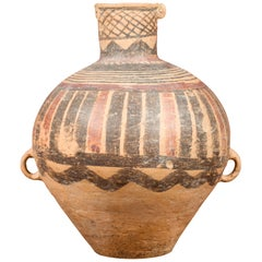 Chinese Neolithic Terracotta Jar with Painted Geometric Decor and Petite Handles