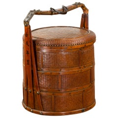 Chinese Nested Bamboo and Rattan Food Basket with Calligraphy and Iron Accents