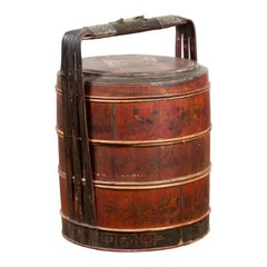 Chinese Nested Bamboo Food Basket with Hand-Painted Décor and Large Handle