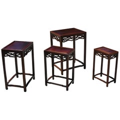 Chinese Nesting Tables Set of 4 Ming Hua Li Wood