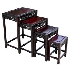 Chinese Nesting Tables Set of Four Solid Rosewood