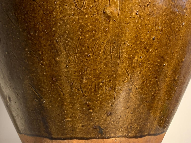 Chinese Ochre Brown Glazed Martaban Jar, Ming Dynasty, 15th-16th Century For Sale 5