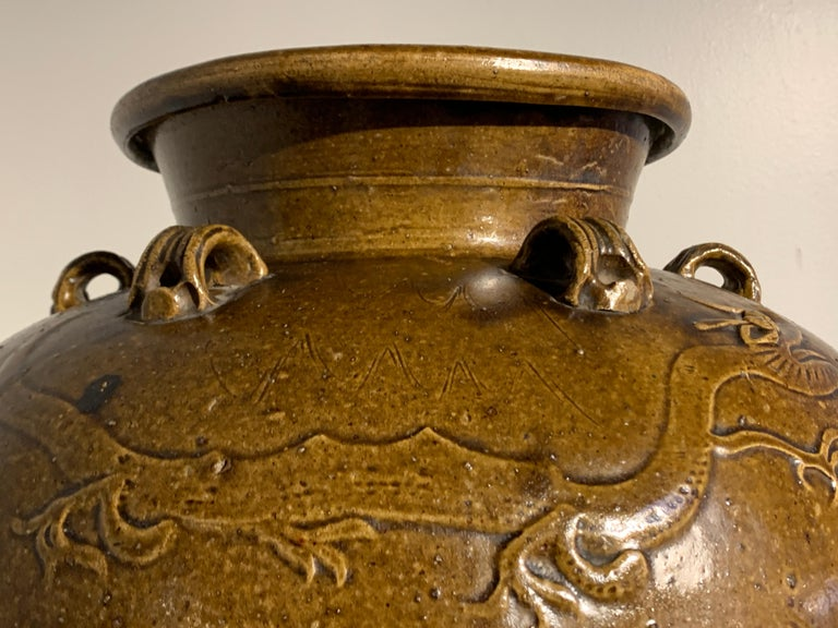 Chinese Ochre Brown Glazed Martaban Jar, Ming Dynasty, 15th-16th Century For Sale 7