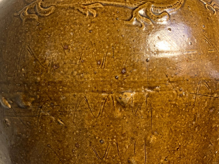 Chinese Ochre Brown Glazed Martaban Jar, Ming Dynasty, 15th-16th Century For Sale 9