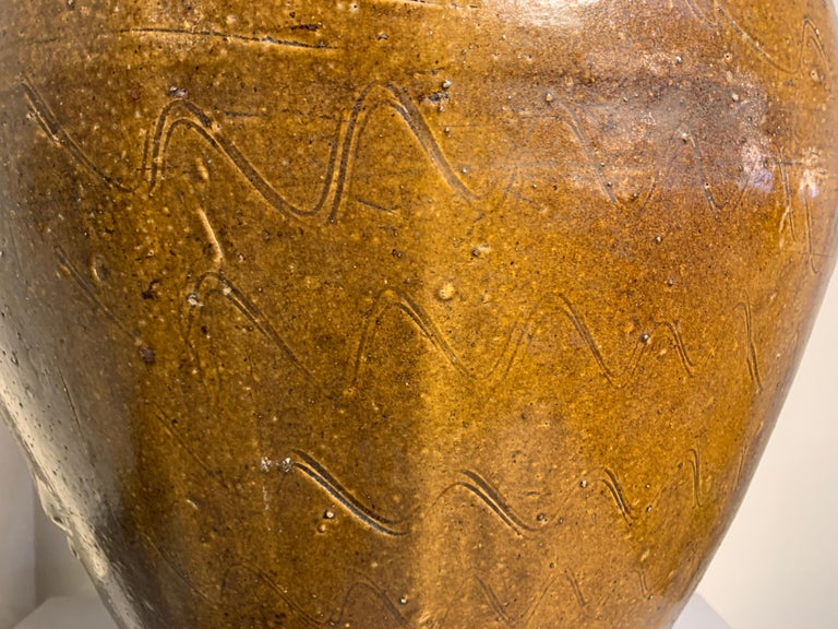 Chinese Ochre Brown Glazed Martaban Jar, Ming Dynasty, 15th-16th Century For Sale 2
