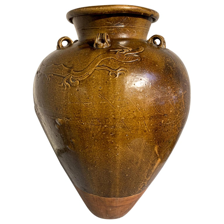 Chinese Ochre Brown Glazed Martaban Jar, Ming Dynasty, 15th-16th Century For Sale