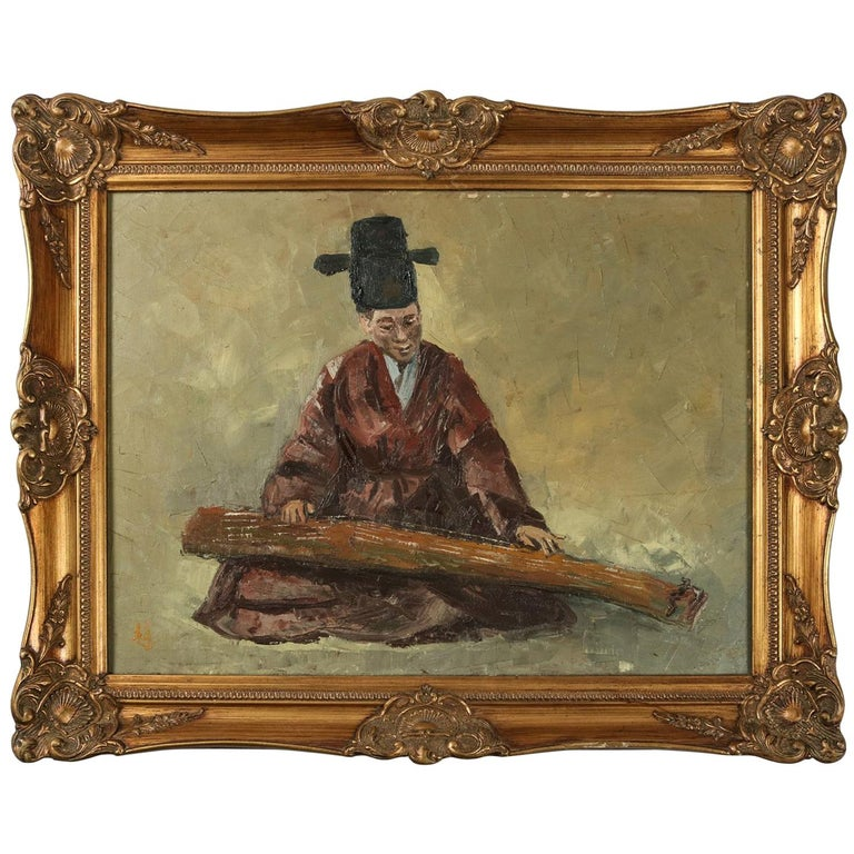 Chinese Oil on Canvas Signed Painting of Musician Playing a Guqin, 20th Century For Sale
