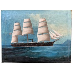 Chinese Oil Painting of American Navy Ship, USS Lancaster, 19th Century