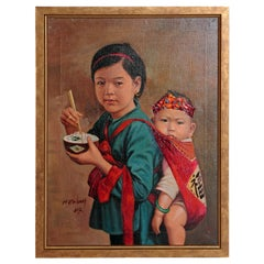 Chinese Oil Painting of Young Girl Carrying Baby
