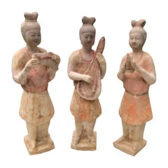 Chinese Old Painted Musicians Trio, Ancient Tang Dynasty Style