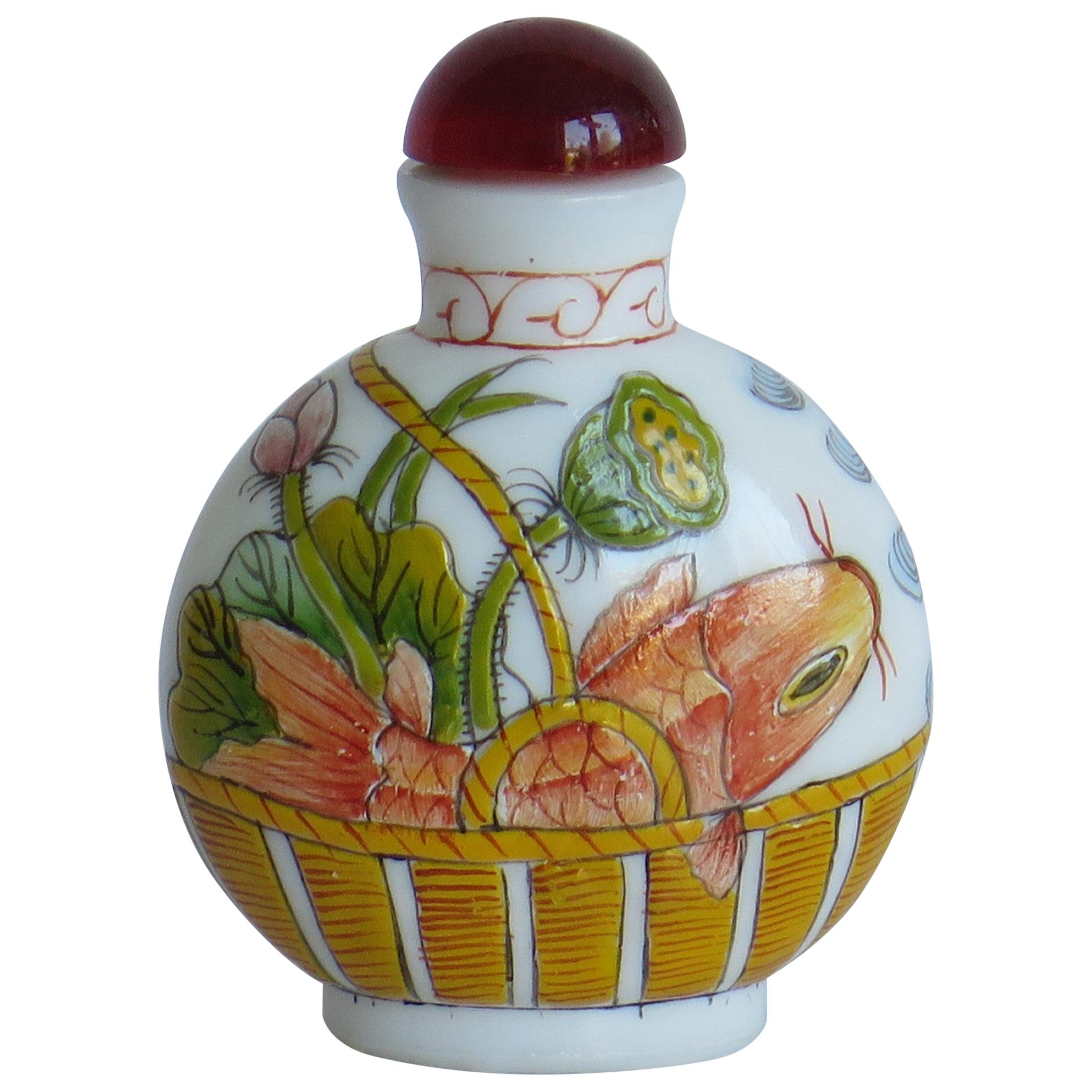 Chinese Opaque Glass Snuff Bottle Hand Enamelled 3-Character Base Mark