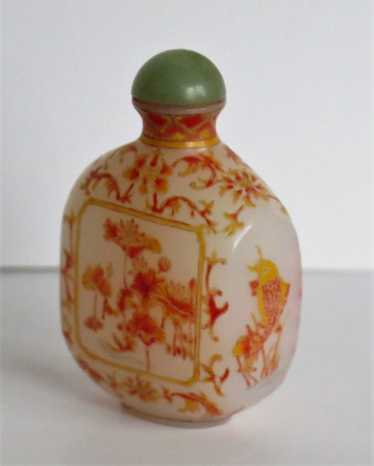 Chinese Opaque Glass Snuff Bottle Hand Enamelled 4-Character Base Mark For Sale 4