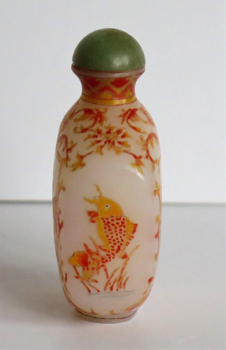 Chinese Opaque Glass Snuff Bottle Hand Enamelled 4-Character Base Mark For Sale 5