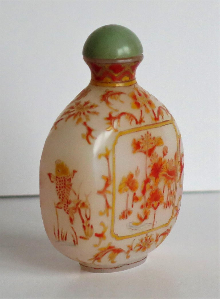 Hand-Painted Chinese Opaque Glass Snuff Bottle Hand Enamelled 4-Character Base Mark For Sale