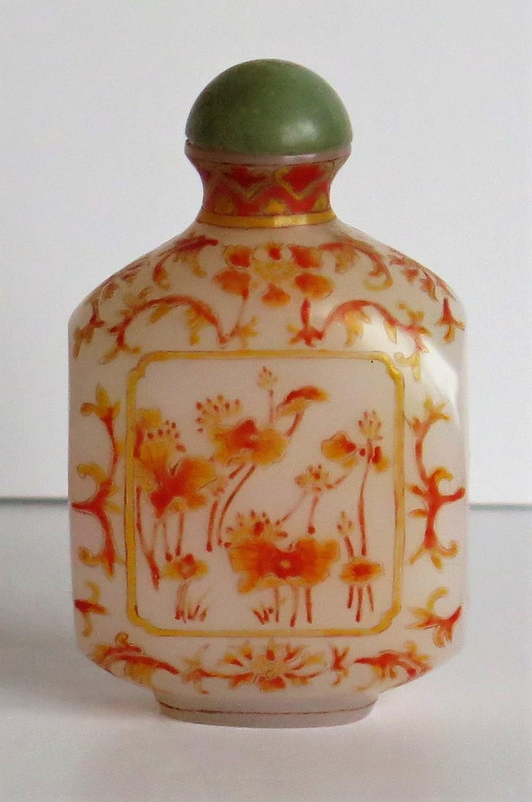19th Century Chinese Opaque Glass Snuff Bottle Hand Enamelled 4-Character Base Mark For Sale