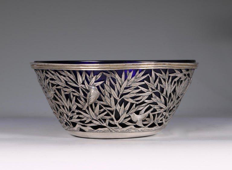Fretwork Chinese Open Work-Silver Bowl by Luen Wo, circa 1900 For Sale