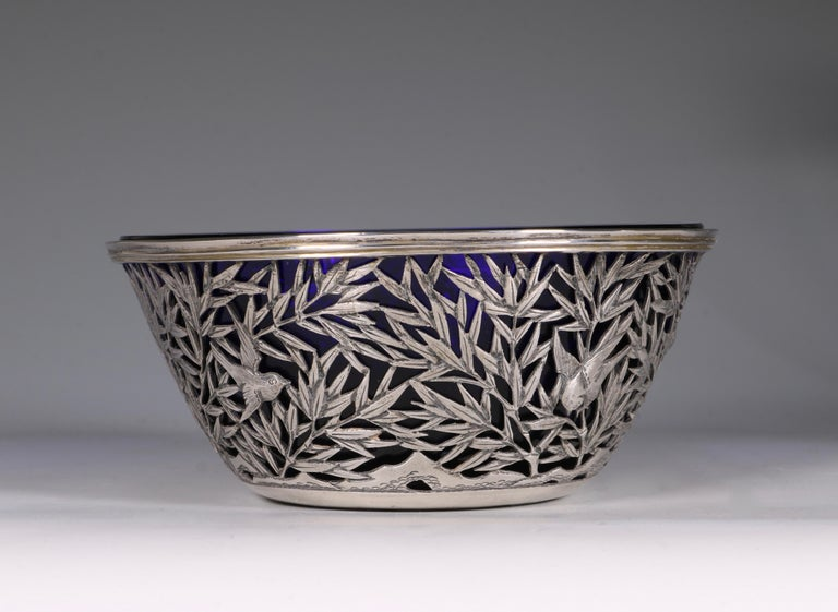Late 19th Century Chinese Open Work-Silver Bowl by Luen Wo, circa 1900 For Sale