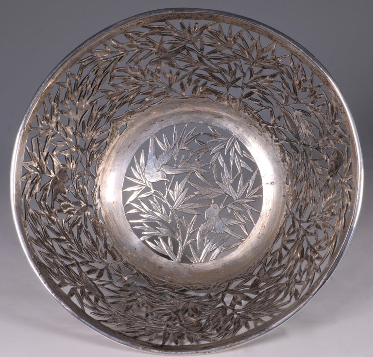 Chinese Open Work-Silver Bowl by Luen Wo, circa 1900 For Sale 1