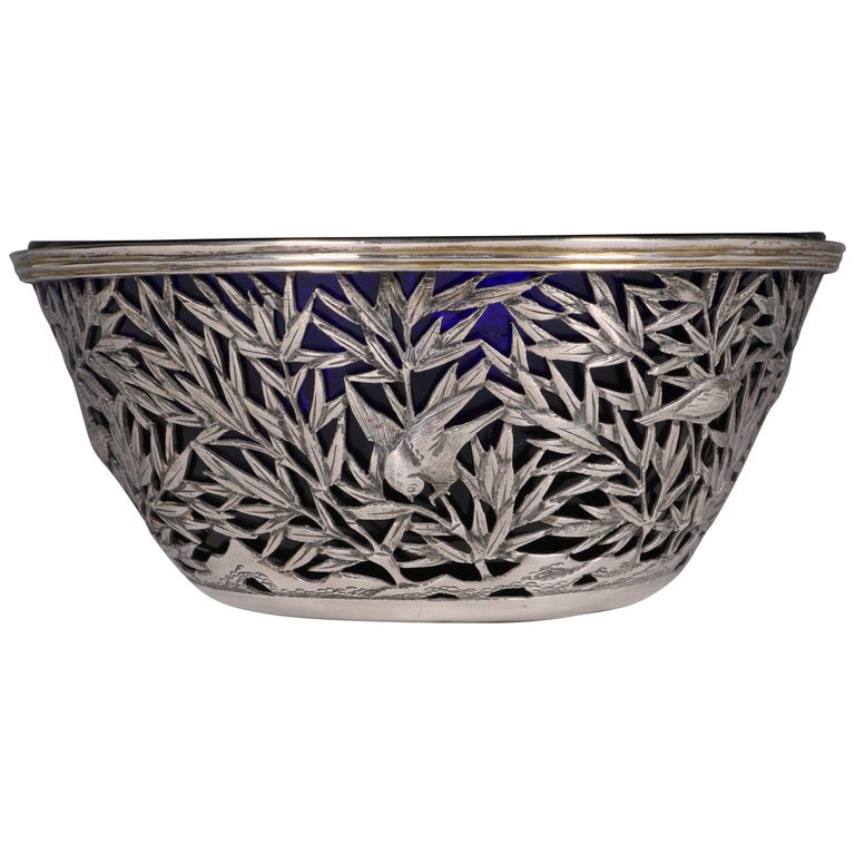 Chinese Open Work-Silver Bowl by Luen Wo, circa 1900 For Sale