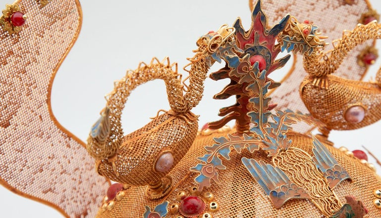 Chinese Opera Theatre Headdress, Ears, Dragons, Ruby For Sale 4