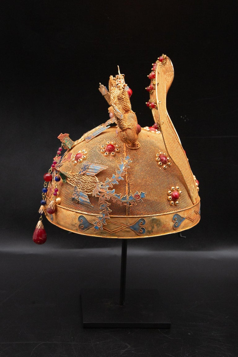Chinese Opera Theatre Headdress, Ears, Dragons, Ruby In Excellent Condition For Sale In New York, NY