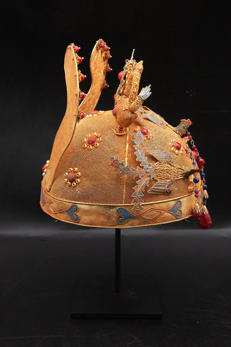 20th Century Chinese Opera Theatre Headdress, Ears, Dragons, Ruby For Sale