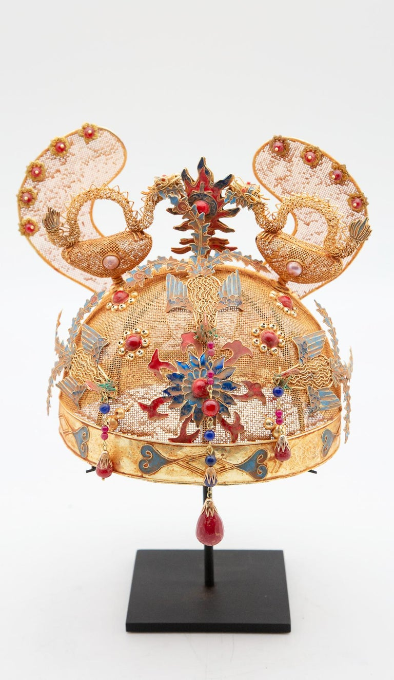 Chinese Opera Theatre Headdress, Ears, Dragons, Ruby For Sale 3