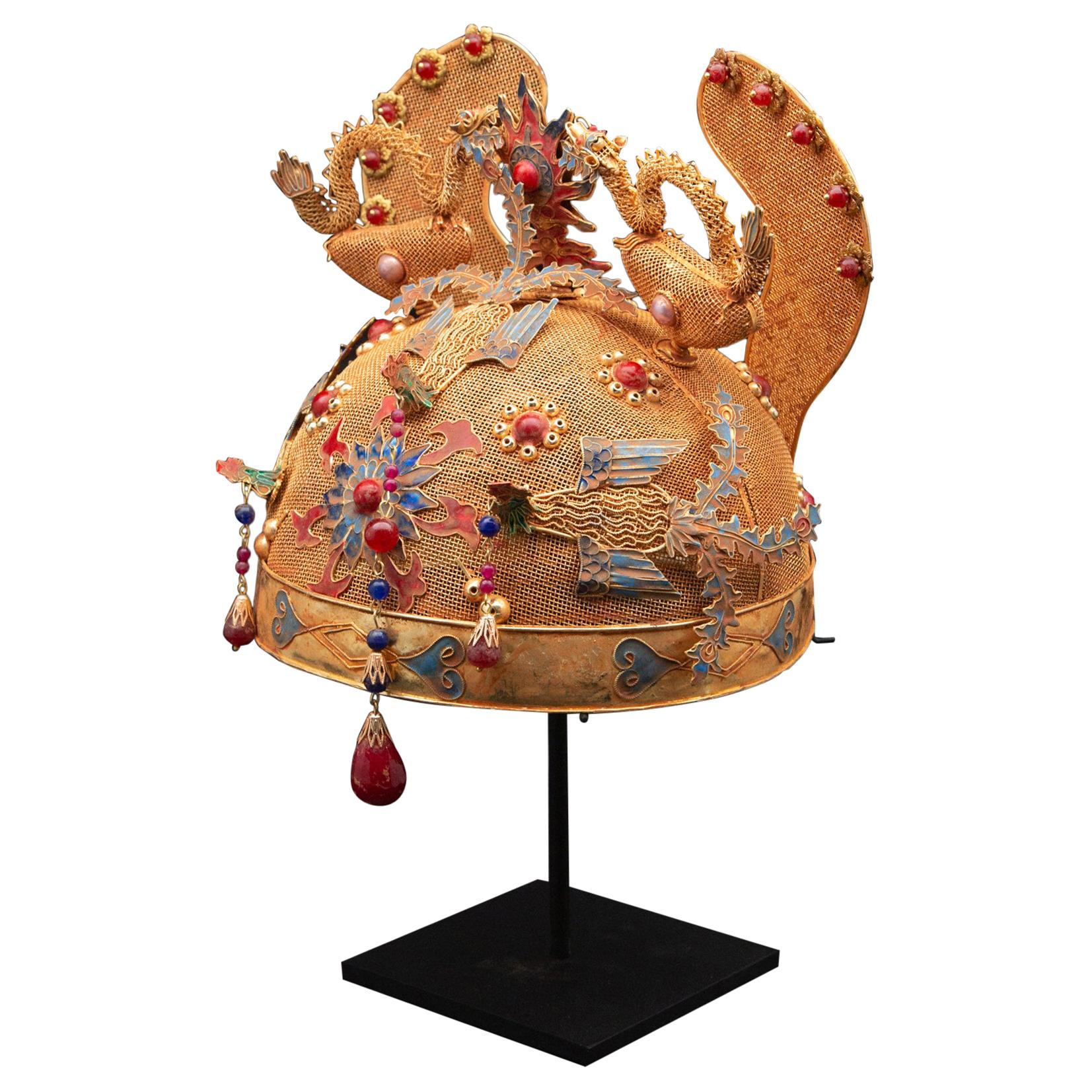 Chinese Opera Theatre Headdress, Ears, Dragons, Ruby