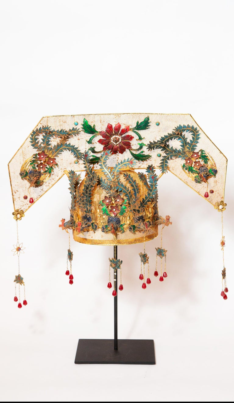 Chinese Opera Theatre Headdress, rose fan. Chinese opera theatre headdress in turquoise enamel with red ruby ornamentation, mid-20th century, mounted on a custom black painted metal base. 21.5
