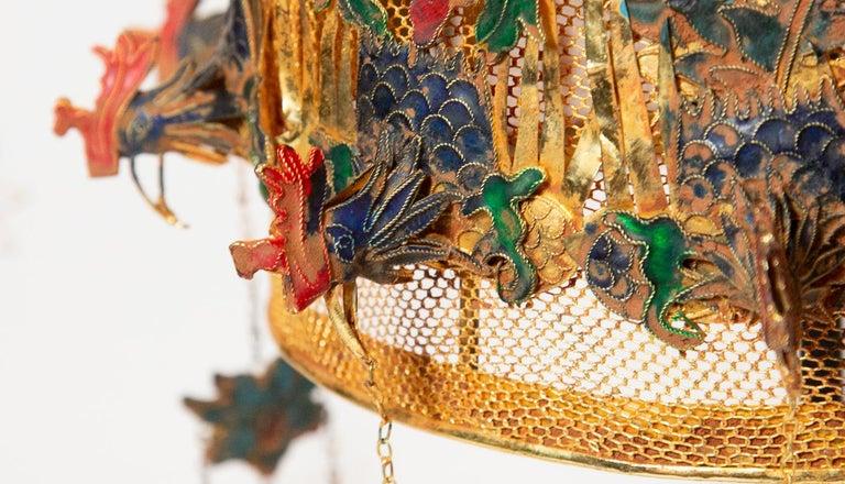 Gilt Chinese Opera Theatre Headdress, Rose Fan For Sale