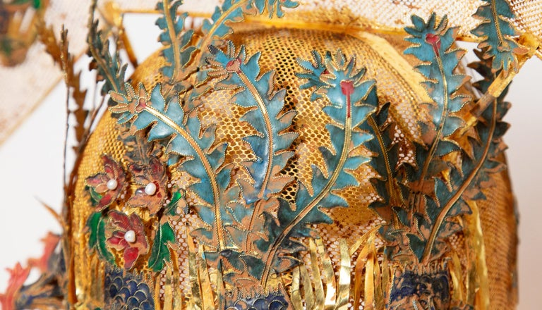 20th Century Chinese Opera Theatre Headdress, Rose Fan For Sale