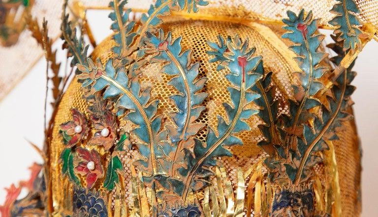 Metal Chinese Opera Theatre Headdress, Rose Fan For Sale