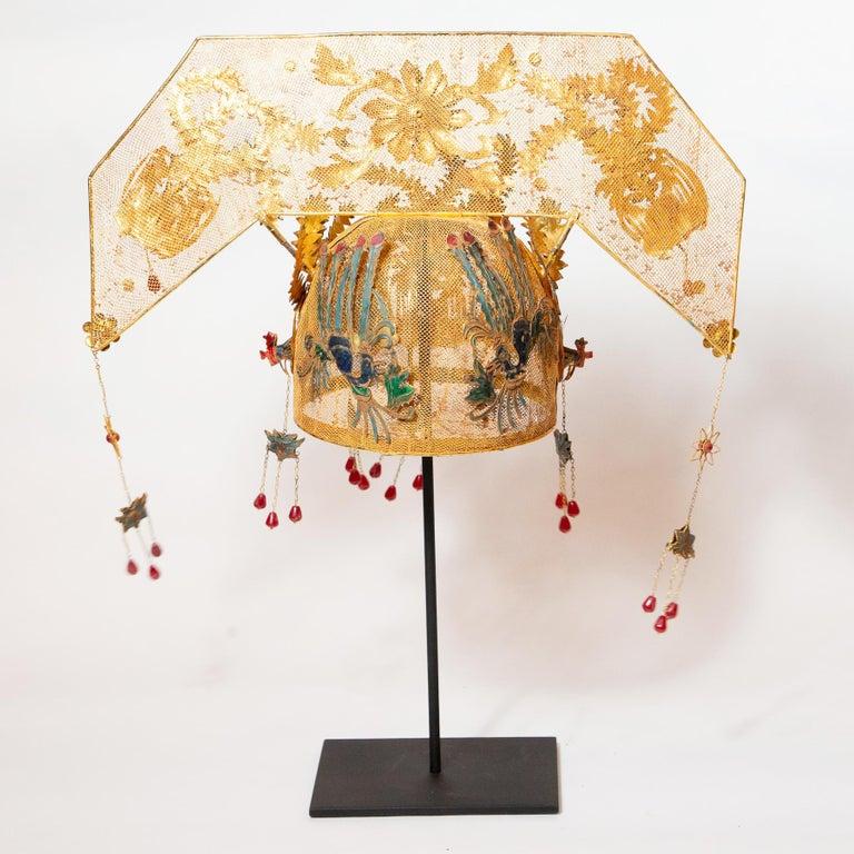 Chinese Opera Theatre Headdress, Rose Fan For Sale 1