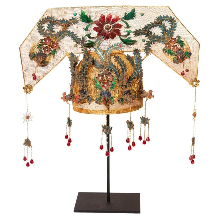Chinese Opera Theatre Headdress, Rose Fan For Sale