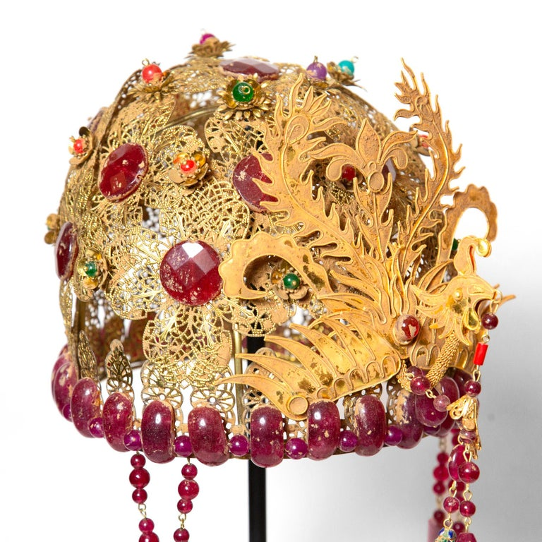 Gilt Chinese Opera Theatre Headdress, Ruby Stone For Sale