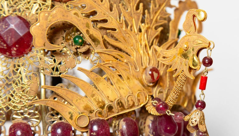 Chinese Opera Theatre Headdress, Ruby Stone In Excellent Condition For Sale In New York, NY