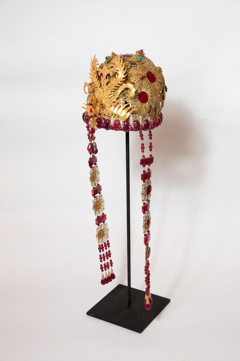 Chinese Opera Theatre Headdress, Ruby Stone For Sale 1