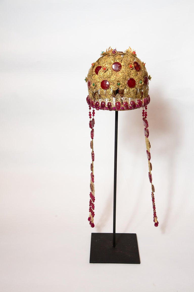 Chinese Opera Theatre Headdress, Ruby Stone For Sale 2