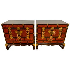 Chinese Orange Locking Chests Cabinets with Brass Butterfly Hardware