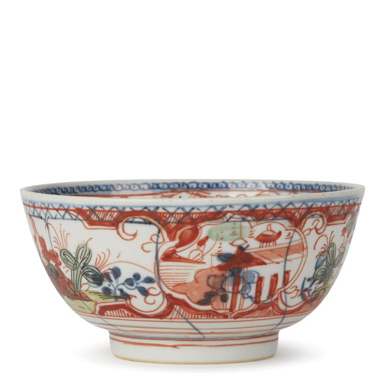 Hand-Painted Chinese Overpainted Porcelain Bowl with Figures, 1720-1740 For Sale
