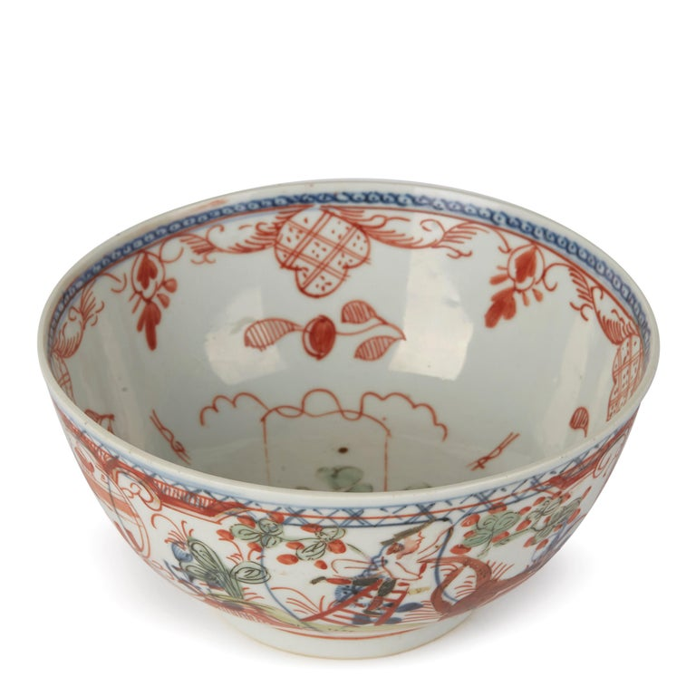 Chinese Overpainted Porcelain Bowl with Figures, 1720-1740 In Good Condition For Sale In Bishop's Stortford, Hertfordshire