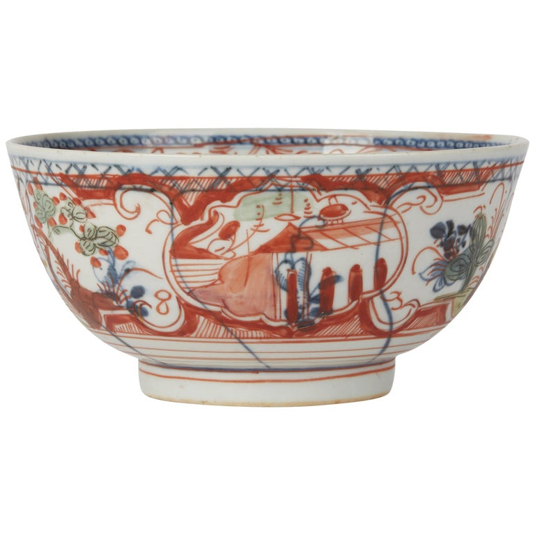 Chinese Overpainted Porcelain Bowl with Figures, 1720-1740 For Sale