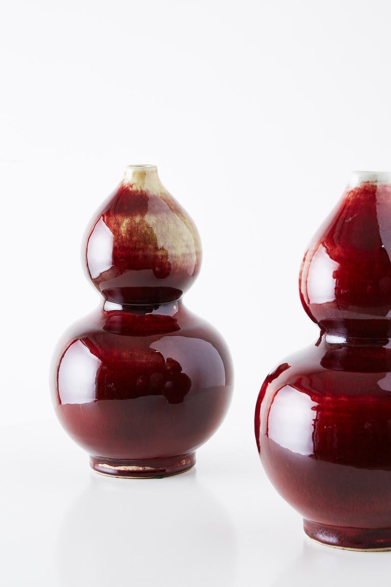 Chinese Oxblood Sang De Boeuf Langyao Double Gourd Vases For Sale 3