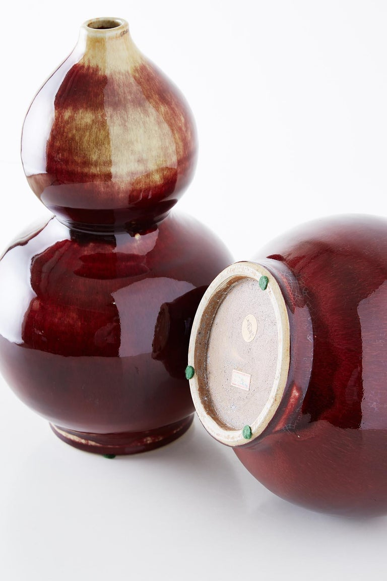 Chinese Oxblood Sang De Boeuf Langyao Double Gourd Vases For Sale 12