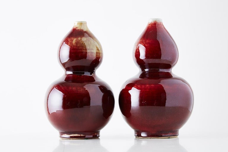 Chinese Oxblood Sang De Boeuf Langyao Double Gourd Vases For Sale 13