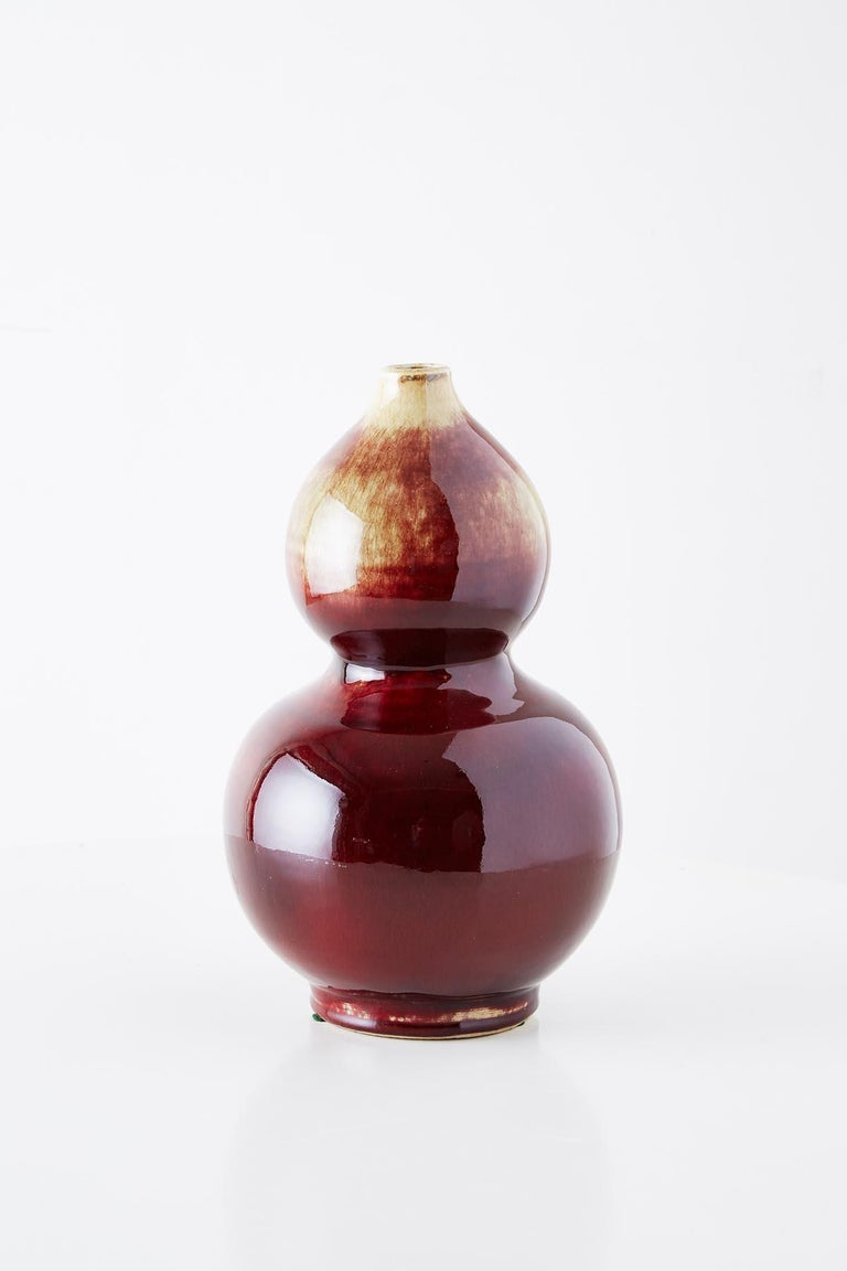 Qing Chinese Oxblood Sang De Boeuf Langyao Double Gourd Vases For Sale